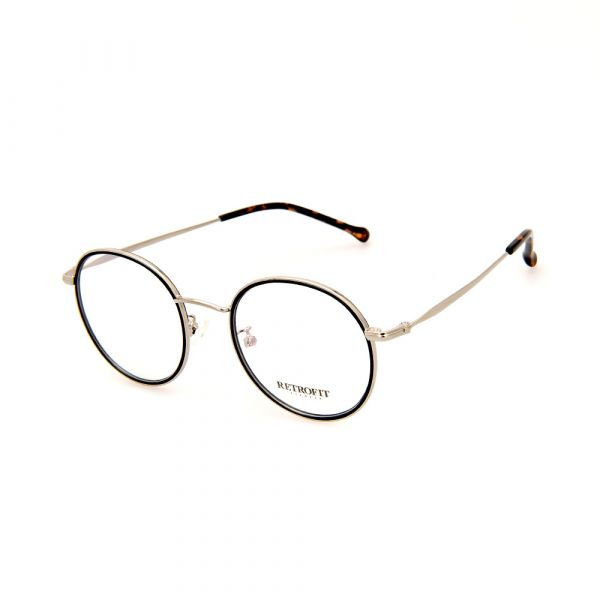 RETROFIT WFIH1032 C45 Black/Gold Round Eyeglasses