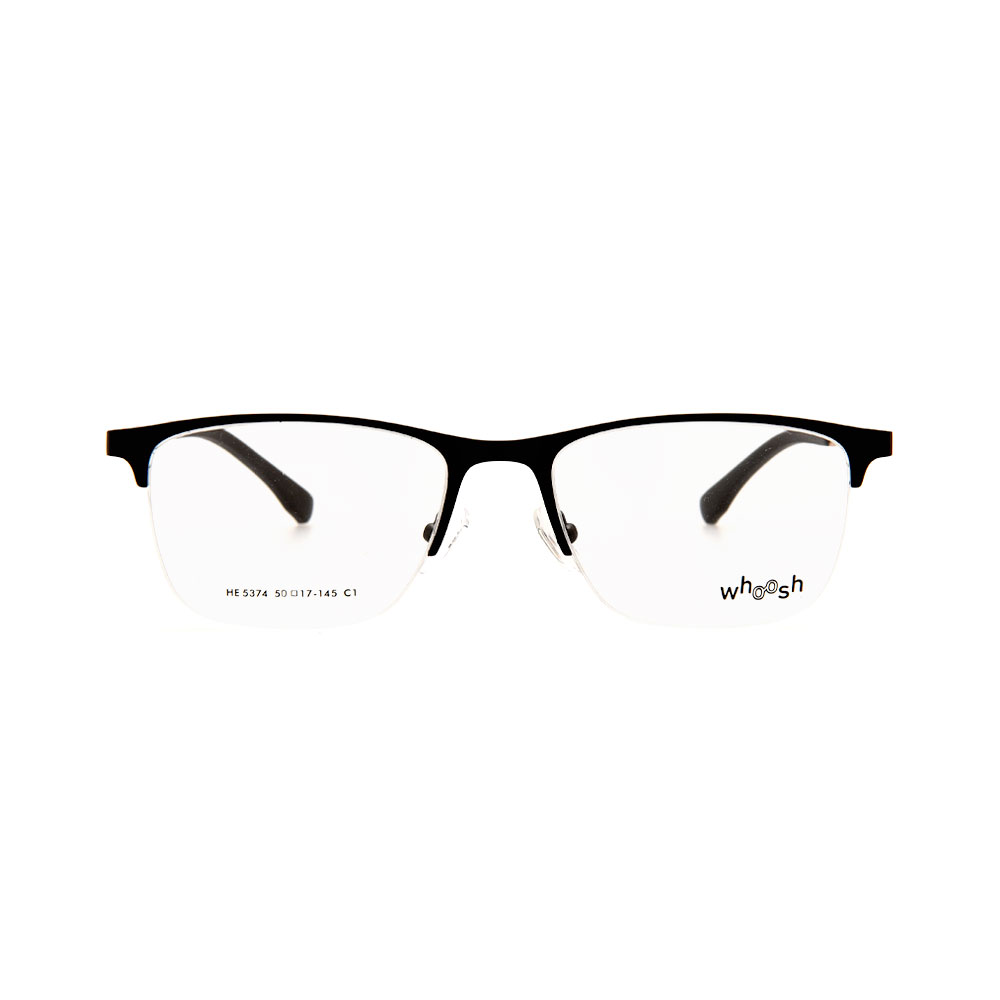 WHOOSH Urban Series Black Rectangle Half Rim HE5374 C1 Eyeglasses