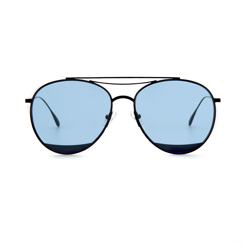 WHOOSH Sunnies Series - Color Tint Blue/Shiny Black Aviator HE1708 C8 Sunglasses